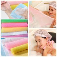Wholesale Back Exfoliating - 30*90cm Salux Nylon Japanese Exfoliating Beauty Skin Bath Shower Wash Cloth Towel Back Scrub Bath Brushes Multi Colors GGA356 30PCS