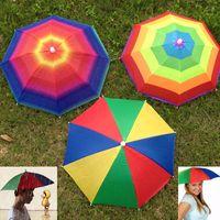 Wholesale fishing headwear for sale - Group buy Foldable Sun Rainbow Umbrella Hat Outdoor Golf Fishing Camping Shade Beach Headwear Head Cap Umbrellas For Adults Children ZJ U01