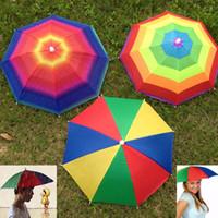 tête de parasols achat en gros de-Pliable Soleil Arc-En-Ciel Chapeau Chapeau En Plein Air Golf Pêche Camping Ombre Plage Chapeaux Tête Chapeau Parapluies Pour Adultes Enfants ZJ-U01