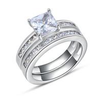 platinbeschichteter schmuck großhandel-Luxury Square Austrian Crystal Ring, Mode Silber mit Platin beschichtet, Mode Silber Schmuck Ringe Großhandel OR28