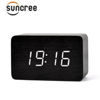 светодиодные цифровые часы зеленый оптовых-Suncree Bamboo Green New  LED Digital Clock,Sounds Control Wooden Alarm Clocks,Desktop Clock Drop Shipping