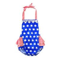 baby sommerstern groihandel-Baby Amerikanische Flagge Strampler Säugling Stripes Sterne print Overalls 2018 Sommer Boutique Kinder Klettern Kleidung C4096