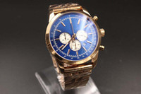 Wholesale luxury chronograph watches for men resale online - HOT New Arrival High Quality Brand Quartz watch For Men Classic Blue Dial Rose Gold Case Skeleton Analog Gold Steel Band Stopwatch Digital