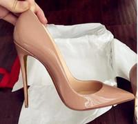 bolsa inferior superior al por mayor-Calidad superior 2018 zapatos de mujer fondos rojos tacones altos Sexy punta estrecha suela roja 8 cm 10 cm 12 cm bombas vienen con bolsas de polvo logotipo boda zapatos 688