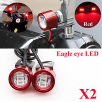 stroboscope led lumières motos achat en gros de-2 PCS DC 12 V Rétroviseur Moto Eagle Eye 3 LED Flash Stroboscope Lumières DRL Rouge Nouveau