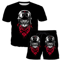мужская девушка оптовых-YX Girl 2018 Summer Mens Two Piece Sets 3d Cute Cat Printed Casual Shorts And Tshirt Men Harajuku Suits Clothing Set Sportswear