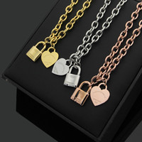 Wholesale Lock Pendant Necklace - 2018 Hot sale Stainless steel lock shape and heart pendant necklace in 51cm length women jewelry gifts free shipping PS5016