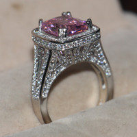 Wholesale Pink Topaz Gold Rings - 10CT Big Pink Sapphire Luxury Jewelry 14kt White Gold Filled 192PCS Pave Tiny Zirconia Diamond Party Women Wedding Band Ring For Lover Gift