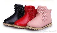 ingrosso scarponi da neve bianchi per bambini-Winter Kids Peluche Snow Boots Bambini Ragazze Fashion Boots Antiscivolo Scarpe impermeabili ad alto spessore Bianco Nero Rosso Stivali da bambino