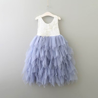 Wholesale Tulle Mid Wedding Dress - Summer New Girl Lace Dress Princess Flower Tiered Tulle Mid-Calf Sundress For Wedding Party Children Clothing 2-8Y E17103