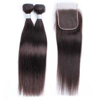 ham remy saç uzatma toptan satış-2 Demetleri Ile Dantel Kapatma Ham Virgin Hint İnsan Saç Uzantıları Renk 2 Koyu Kahverengi Düz Remy Saç Demetleri