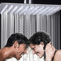 ingrosso la luce del soffitto del nickel spazzolata-Soffione doccia da 12 pollici Quadrato in acciaio inox Soffione per doccia ultrapiatta Doccia a pioggia Bagno famiglia Pack Tetto a parete