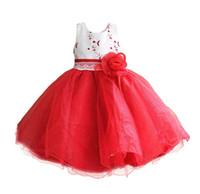 Wholesale ceremony clothing online - Girl Dress Wedding Gown Flower Princess Dress Girls Clothing Kids Ceremonies Christmas Party Vestidos