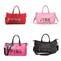 Wholesale sport duffle bag wholesale - Pink Letter Sequins Shoulder Bag Large Capacity Women Duffle Handbag 4 Colors Outdoor Travel Sports Beach Totes Outdoor Bags OOA5170