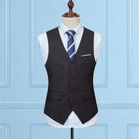 Wholesale Thin Sleeve For Dresses - 2017 new arrival dress vests for men slim fit suit sleeveless business waistcoat men working waistcoat plus size M-5XL suit vest