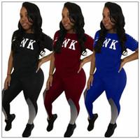 Wholesale wholesale women knit suits - 2pcs set PINK Letter Outfits Set Short sleeve T Shirt Tops Contrast Color Tracksuit Lady Jogging Gym Sweatshirts Legging Suit CCA9614 10set