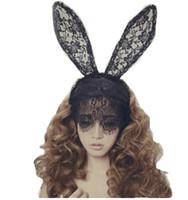 cabelo coelho sexy venda por atacado-Acessórios para o Cabelo para As Mulheres Menina Faixa de Cabelo Rendas Sexy Orelhas de Coelho Véu Partido Headband Headwear Ornamento Do Cabelo Halloween 3 pcs /