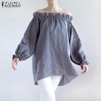 Wholesale women off shoulder puff sleeve - Sexy Off Shoulder Cotton Blouse Tops 2017 Autumn ZANZEA Women Slash Neck Puff Sleeve Casual Loose Ruffles Shirts Plus Size S-5XL