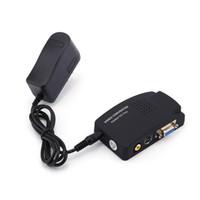siyah uk adaptör toptan satış-Siyah Renkli TV RCA Kompozit S-Video AV PC Mac VGA Lcd Çıkışı Dönüştürücü Adaptör Kutusu ABD / İNGILTERE / AB / AU Fiş