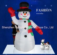 Wholesale Christmas Snowman Inflatables - 8 Foot Giant Inflatable Hands Up Snowman Yard Holiday Christmas Decoration With Good Quality