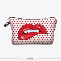 милые печатные косметические сумки оптовых-3D печать макияж сумки с многоцветным рисунком симпатичные косметика Pouchs для путешествий дамы сумка женщины косметичка