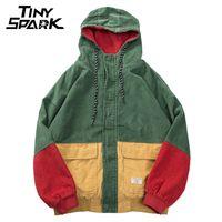 Wholesale Mens Corduroy Jacket Xl - Hip Hop Hoodie Loose Jacket Men Winter Corduroy Jacket Harajuku Red Patchwork High Street Mens Hooded Coat Reggae Jamaica