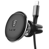 universal-kabelhalterclips großhandel-Baseus Autohalterung für Telefon Magnetic Air Vent Autohalterung mit Kabelclip Handyhalter Ständer GPS Halterung für Universal Phone