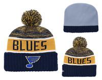 beanies azuis amarelas venda por atacado-1 Peça Barato 2019 Novos Ventiladores Loja Blues Azul Cor Amarela Esporte Cuffed Knit Hat Marca de Moda de Todos Os Hóquei Esporte Da Equipe Beanie Hats Bones