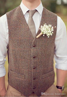Wholesale custom tailor suits - 2018 New Farm Wedding Brown Wool Herringbone Tweed Vests Custom Made Groom's Suit Vest Slim Fit Tailor Made Wedding Vest Men Plus Size