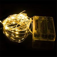 akü askısı hafif bakır toptan satış-3 M 30 LEDs AA Pil Işletilen Led Dize Mini LED Bakır Tel Dize Peri Işık Noel Noel Ev Partisi Dekoru Işık Sıcak Saf Beyaz