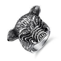 zodiaco anillos de moda al por mayor-12 Chinese Zodiac Pig Fashion Simple Animal's Animal Ring Anillo de acero inoxidable Regalo de la joyería para hombres Niños 587
