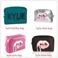Wholesale Pillow Kits - Kylie Jenner bags Cosmetics Birthday Bundle Bronze Kyliner Copper Creme Shadow Lip Kit Make up Storage Bag pink silver black green