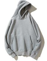 camisolas de grandes dimensões venda por atacado-Preto Cinza Hip Hop Hoodies Kanye West Moletom Com Capuz Manga Longa Casuais Com Capuz Pulôver Oversized S-2XL