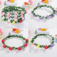 Wholesale bridal hair ornament - Hot sale fashion Crown Garland Bridal children's head ornaments Wreaths handwork artificial Flower Hair hoop T3I0316