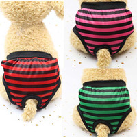 couches extra grandes pour chiens achat en gros de-Hot New Mode Réutilisable Pet Pet Dog Pantalon Rayé Chienne Menstruel Sanitaire Nappy Couche Taille S-XL
