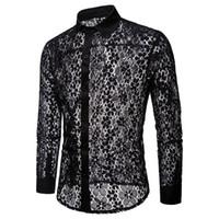 новая модная мужская рубашка оптовых-Мужчины рубашки 2018Autumn новая мода с длинным рукавом высокое качество мужчины сексуальные кружева мужская рубашка черный / белый Мужские рубашки платья S-XXL