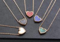 corea 14k de oro al por mayor-Hot Style Lace Love Heart Necklace Mujeres 14k Rose Gold Japón y Corea del Sur Simple Heart Heart Clavícula colgante
