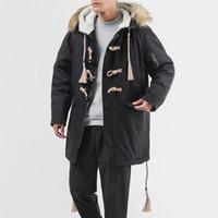 cuello de piel largo abrigo hombres al por mayor-M-4XL 5XL largo cuello de piel con capucha hombres parka chaqueta de invierno abrigo de invierno hombres parka gruesa suelta térmica chaquetas para hombre
