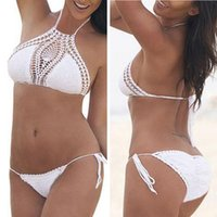 86ce9165d1 crop top bikini set Canada - Women Swimwear Crochet Bikini Set Sexy Halter Crop  Top Swimsuit