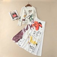 Wholesale White Long Cotton Skirt - European and American women's wear in 2018 The new spring Long sleeve Hollow-out sweater Abstract printed skirt suit