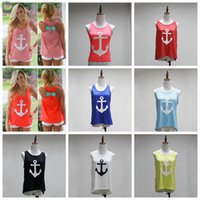 Wholesale Navy Bow Ties - Maternity Tops tees Vest with Back bow Tie Ship Anchor the Navy Style the Female Tank Tops