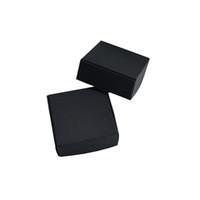 biscoito de decoração venda por atacado-50 pçs / lote 5.5 * 5.5 * 2.5 cm Black Craft Caixa de Armazenamento de Presente De Papel Decoração Do Partido de Jóias Pequena Caixa de Doces Biscoitos Embalagem de Supermercado Caixa de Pacote