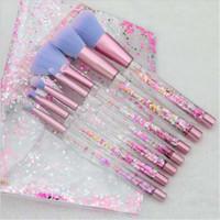 glitzer make-up-kits großhandel-7pc Glitter Crystal Make-up Pinsel Set Diamant Pro Textmarker Pinsel Concealer Make-Up Pinsel Geschenk DHL-freies Verschiffen