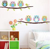 coruja, papel parede, sala venda por atacado-Cartazes de decoração para casa adesivos de parede 3d diy seis corujas na árvore adesivo de parede para quartos de crianças papel de parede adesivos arte decoração mural