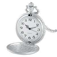 Wholesale cheap bronze necklace online - Cheap Pocket New Arrivals Tuck Quartz Pocket Watch Chains Vintage Men Women Pendant Necklace Clock Gift