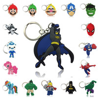 Wholesale boy girl soft toys for sale - Cartoon Key chains Cute Soft Key Ring PVC Anime Figure Keychain Kids party trinket gift toy gift