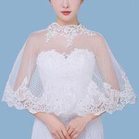 Wholesale tulle dresses bolero - 2018 Modest Wedding Dresses Shrugs Bohemian Wedding Boleros Appliques Lace Tulle Bridal Shawls Boho Bridal Jackets CPA1297