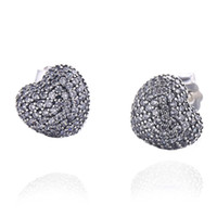 Wholesale 925 Silve - 2018 New Authentic 925 Sterling Silve In My Heart Pave Clear Cubic Zirconia Crystal Stud Earrings For Women Wedding Jewelry Gift