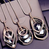 Wholesale Gray Statement Necklace - Luxury Brand Geometric Necklaces Fashion Design Crystal Statement Necklace 30 Inches Long Punk Style Sweater Chain 3 Colors