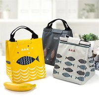 Wholesale heat lunch box - Bento Bag Fish Handbags Outdoors Picnic Heat Preservation Portable Lunch Boxes Oxford Cloth Pearl Cotton Waterproof Thick Durable 5 2bx V